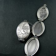 5pcs 20x30mm antiqued silver plated brass wave engraved vintage style oval photo locket pendant charm DIY 1123014