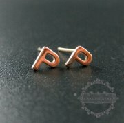 1Pair 5X6MM Letter P Initial Alphabet Rose Gold Plated Solid 925 Sterling Silver Earrings Studs 1703018
