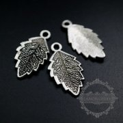 20pcs 12x22mm vintage style antiqued silver alloy leaf pendant charm DIY supplies findings 1830088