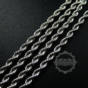 3pcs 20inch 3mm 316L stainless steel rhodium color necklace chain DIY jewelry supplies 1322038