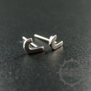 5pairs 5x6mm letter J initial alphabet solid 925 sterling silver earrings studs 1702095