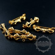 20pcs 11x30m vintage style gold color brass bow knot with loop DIY brooch findings supplies 1582043