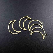 20pcs 8x24mm simple raw brass moon loop pendant charm DIY supplies findings 1800331