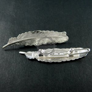 5pcs 12x53mm vintage style silver filigree feather hair clip DIY supplies findings 1502020