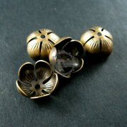 10pcs 12mm vintage style brass bronze antiqued flower beads cap DIY beading jewelry supplies 1561008