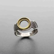 1Pcs 10MM Round Vintage Style Brass Merged Antiqued Silver Gems Cabochon Stone Bezel Solid 925 Sterling Silver Adjustable Ring Settings 1213045