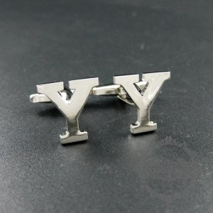 1pair 15X17mm initial letter Y rhodium silver plated brass novelty cufflinks fashion sleeve buttons shirt cufflinks 1500103