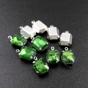 12pcs 8x10mm green rectangle faceted glass in silver bezel vintage DIY pendant charm supplies 1800328-1