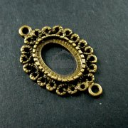 10pcs 10x14mm setting size vintage style filigree flower oval connector bezel tray DIY pendant charm supplies 1421058