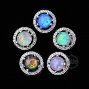 1Pair 10MM Silver Multi Color Mood Artificial Opal CZ Cubic Zirconia Pave Setting Elegant Luxury Fashion Women Wedding Studs Earrings 6730625
