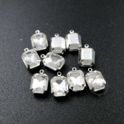 12pcs 8x10mm crystal rectangle faceted glass in silver bezel vintage DIY pendant charm supplies 1800328-7