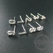 5pairs 6mm number 0 solid 925 sterling silver earrings studs 1702093-1