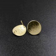 12pcs round brush gold tone brass DIY earrings studs with loop at the back jewelry supplies 1705054-3