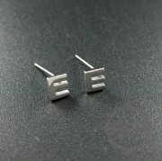 5pairs 5x6mm letter E initial alphabet solid 925 sterling silver earrings studs 1702094