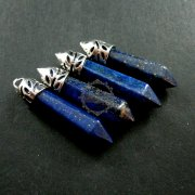 4pcs 9x30mm faceted pillar blue lapis lazuli stick stone pendant charm DIY jewelry findings supplies 1820201
