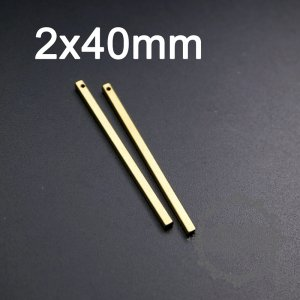 20pcs 2x40mm vintage style raw brass rectangle cuboid stick pendant charm for stamping DIY supplies 1800296-1