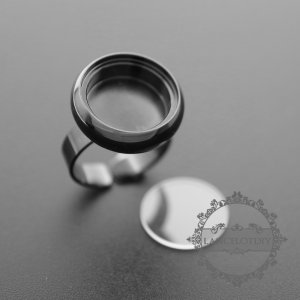 5pcs 16mm round bezel 5mm depth gun black brass floating ring with flat glass 1210024-4