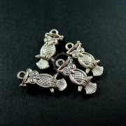 12pcs 9x18mm vintage anqtiued silver kawaii owl pendant charm DIY jewelry supplies 1830028