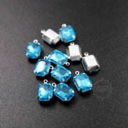 12pcs 8x10mm light blue rectangle faceted glass in silver bezel vintage DIY pendant charm supplies 1800328-6