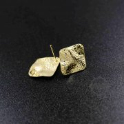 12pcs rhombus hammered gold tone brass DIY earrings studs with loop at the back jewelry supplies 1705054-1