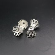 100pcs 10mm vintage style silver color filligree beads cap DIY flower cap supplies findings 1561019-3