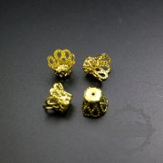 100pcs 10mm vintage style gold color filligree beads cap DIY flower cap supplies findings 1561019-2