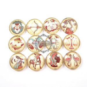 1set 25mm vintage style 12 Horoscope constellation collage pattern round glass cabochon DIY supplies findings 4110054
