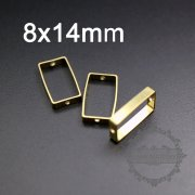20pcs 8x14mm rectangle raw brass frame with two holes for beading pendant charm DIY supplies 1800283-1