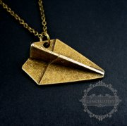 1pcs 27inches vintage bronze paper air plane pendant charm fashion necklace 6350305
