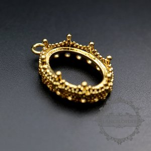 6pcs 13x18mm gold color flower brass round bezel tray settings for cabochon pendant DIY supplies 1411175