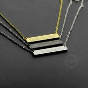 1pcs stainless steel gold silver black customized monogram personalized name initial rectangle bar necklace bridesmaid wedding gift for her 20'' 63903846