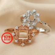 1Pcs 3-6MM Square Lace Rose Gold Silver Gems Cz Stone Prong Bezel Solid 925 Sterling Silver Adjustable Ring Settings 1294129
