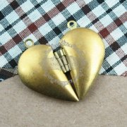 5pair 29MM raw copper lovers' heart locket pendant,vintage heart lovers' locket pendant1131023