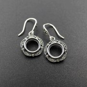 10MM Round Setting Bezel Tray Antiqued Solid 925 Sterling Silver DIY Earrings Hooks Findings 1706010