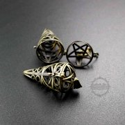5pcs 27x45mm vintage style antiqued bronze filligree star circular cone prayer box pendant charm DIY supplies 1161034
