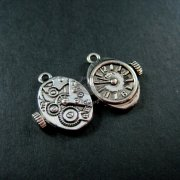 12pcs 12x20mm vintage antiqued silver alloy steam punk watch movement DIY pendant charm jewelry supplies 1830030