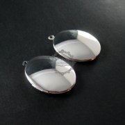 5pcs 22x27mm pendant vintage brass silver plated oval blank photo locket supplies charm 1122009