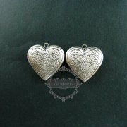 5pcs 28mm vintage style antiqued silver flower engraved heart shape photo locket pendant charm DIY supplies 1133007