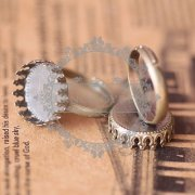 10Pcs 15MM crown round vintage bronze ring setting,ring setting base,vintage ring,fashion ring1211032