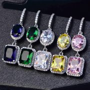 1Pair 11x41MM Silver Multi Color Long CZ Cubic Zirconia Pave Setting Elegant Luxury Fashion Women Wedding Hook Earrings 6730622