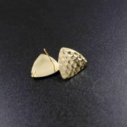12pcs triangle hammered gold tone brass DIY earrings studs with loop at the back jewelry supplies 1705054-2