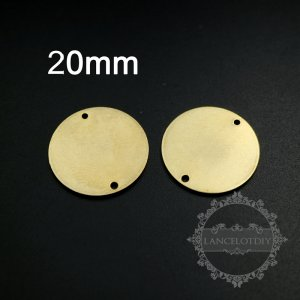 20pcs 20mm vintage style raw brass round pendant charm with two holes for engraving DIY supplies 1800312-1