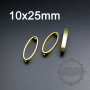 20pcs 10x25mm oval raw brass frame with two holes for beading pendant charm DIY supplies 1800283-3