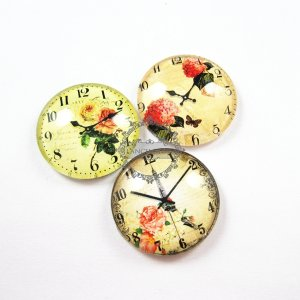 1set 25mm vintage style clock flower collage pattern round glass cabochon DIY supplies findings 4110052