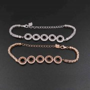1Pcs 5-6MM Round Bezel Rose Gold Plated Solid 925 Sterling Silver 5 Stones Luxury Bracelet Settings 5.5Inches+2Inches Extension Chain 1900223