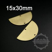 20pcs 15x30mm raw brass half round with two holes pendant charm supplies 1800288-1