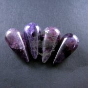 4pcs 15x30mm water drop shape purple amethyst half drilled loose beads for DIY pendant charm supplies 3000032