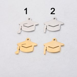 5Pcs Silver Gold Stainless Steel Trencher Cap Sqaure College Cap Stamping Engraving Pendant Charm DIY Supplies 1800448