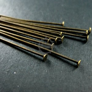 100pcs 46mm long 0.7mm thick vintage style antiqued bronze brass flat headpin DIY supplies beading findings 1511009