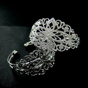 2pcs vintage style filigree base tray bezels silver plated brass bracelet blank cuff DIY supplies 1900051